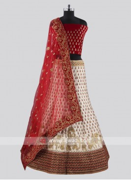 Wedding Red and Off white Embroidered Lehenga Choli