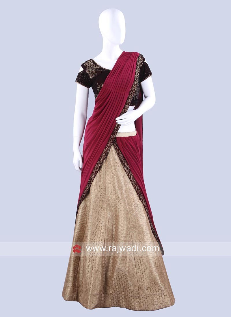 Wedding Resham Work Lehenga Saree
