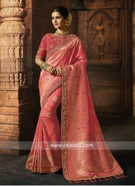 Wedding Saree in Gajari Pink