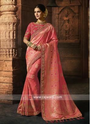 Wedding Saree in Gajari Pink