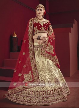 Wedding Satin Lehenga Choli With Dupatta