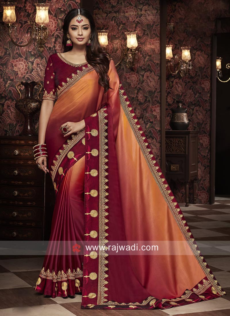 Wedding Satin Silk Shaded Saree