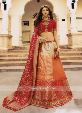 Wedding Shaded Lehenga Set with Dupatta