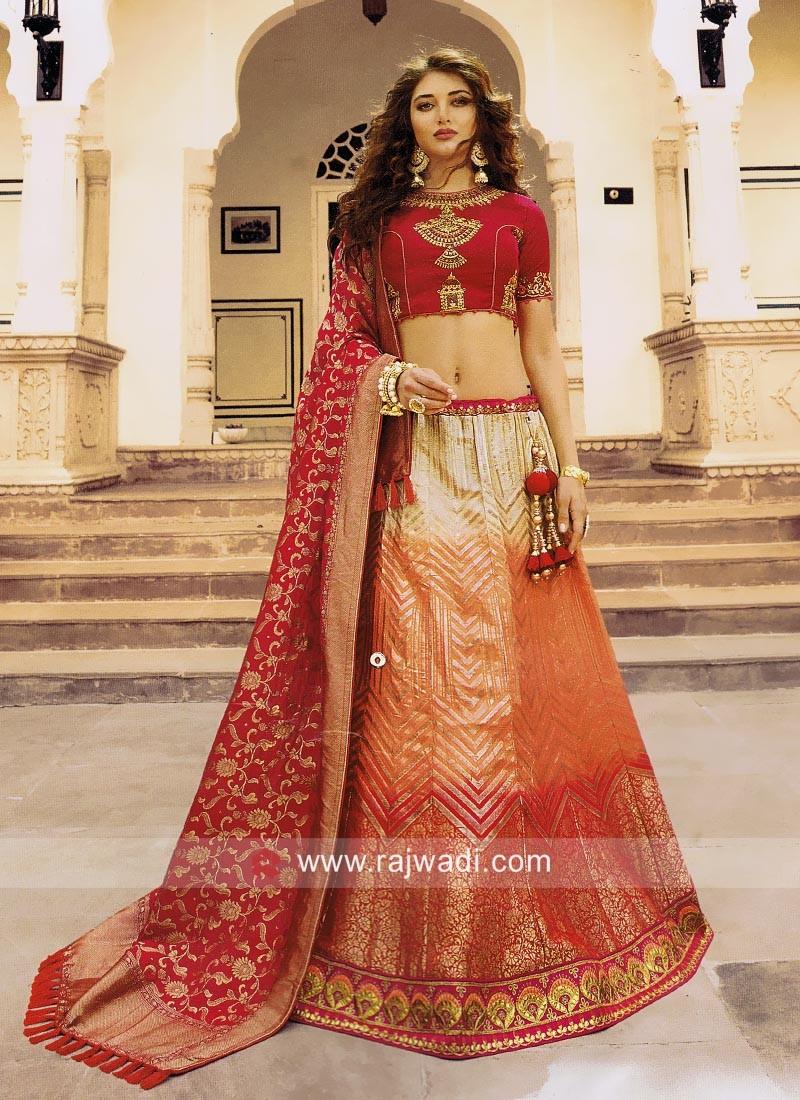 Wedding Shaded Lehenga Set with Dupatta