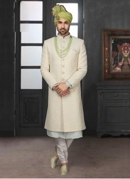 Wedding Sherwani In Off-White Color