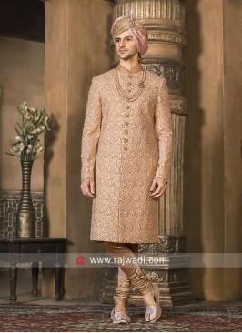 Wedding Sherwani in Peach Color