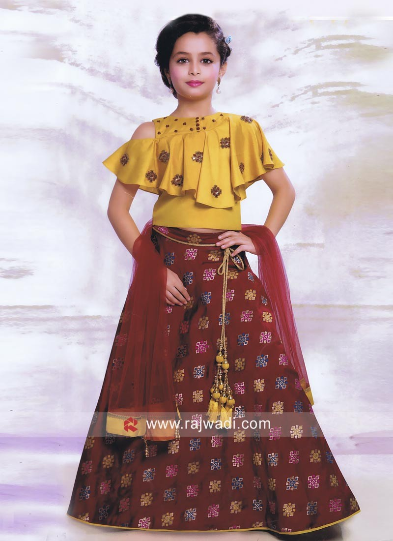 Wedding Silk and Crepe Lehenga Set for Kids