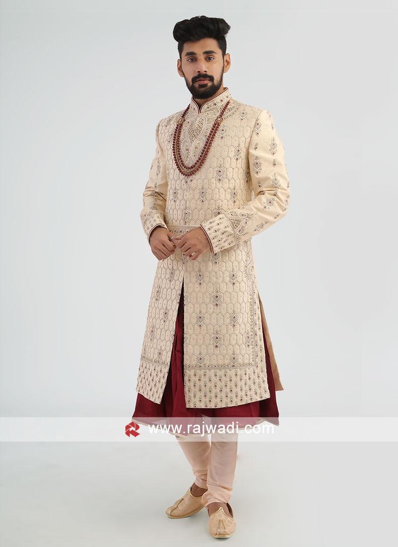 Wedding Silk Cream Sherwani