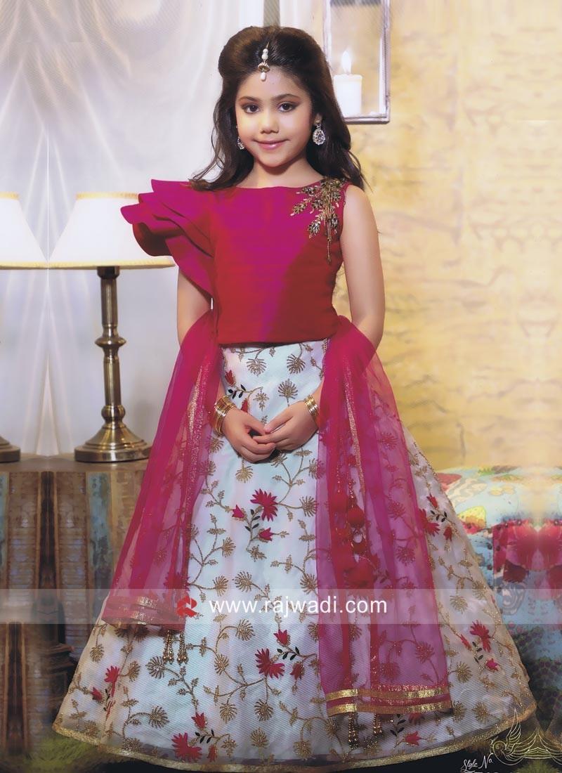 Wedding Silk Girls Choli Suit