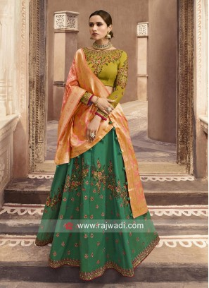 Wedding Silk Lehenga Choli with Two Dupatta