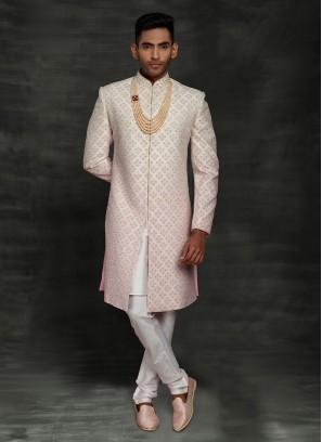 Wedding Silk Pink Sherwani