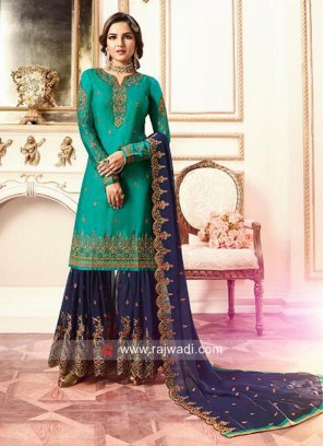 Wedding Stone Work Heavy Gharara Suit