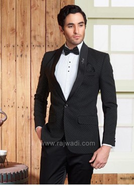 Wedding Terry Rayon Suit in Black Color