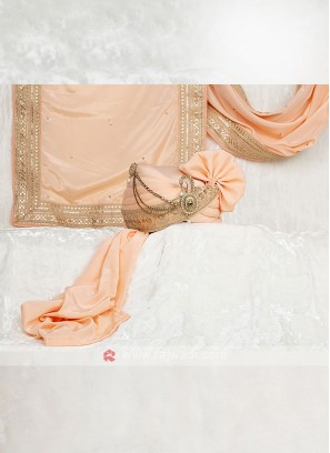 Wedding Turban With Matching Dupatta In Peach Color