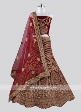 Wedding Velvet Lehenga Choli in Maroon