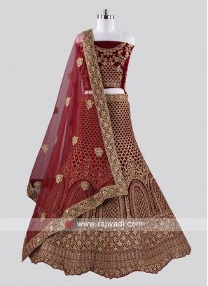 Wedding Velvet Lehenga Choli in Maroon