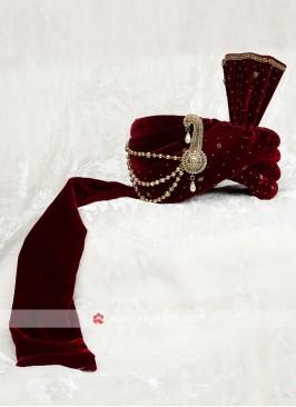 Wedding Velvet Turban In Maroon Color