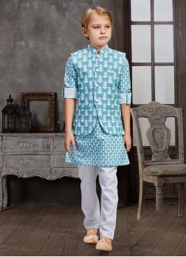 Wedding Waer Printed Nehru Jacket For Boy