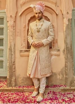Wedding Wear Anarkali Style Sherwani For Dulha