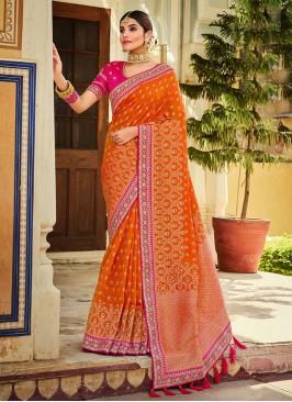 Wedding Wear Banarasi Saree In Pink And Orange Color