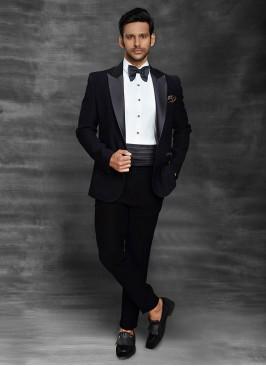 Wedding Wear Black Color Suit