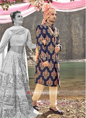 Wedding Wear Blue Sherwani For Mens