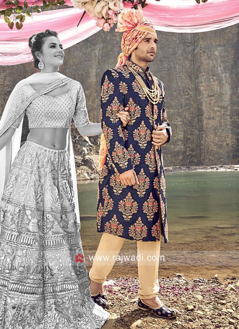 Wedding Wear Blue Sherwani For Mens