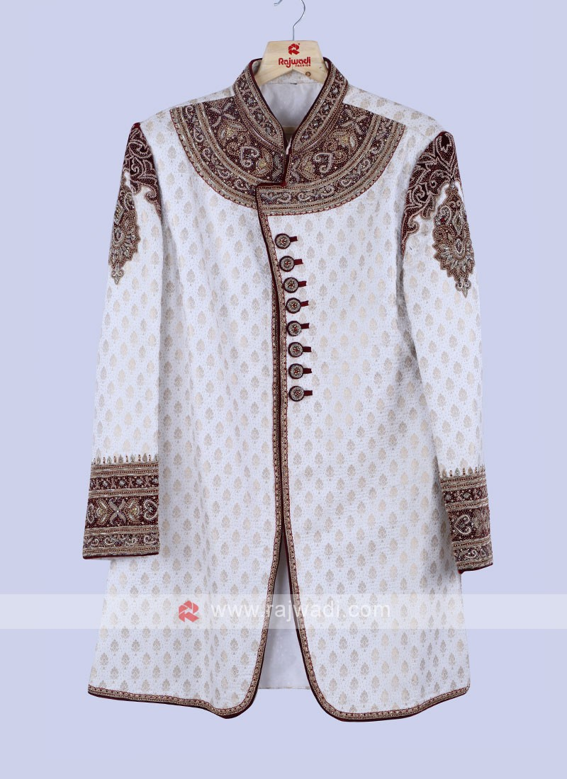 Wedding Wear Brocade Silk Sherwani