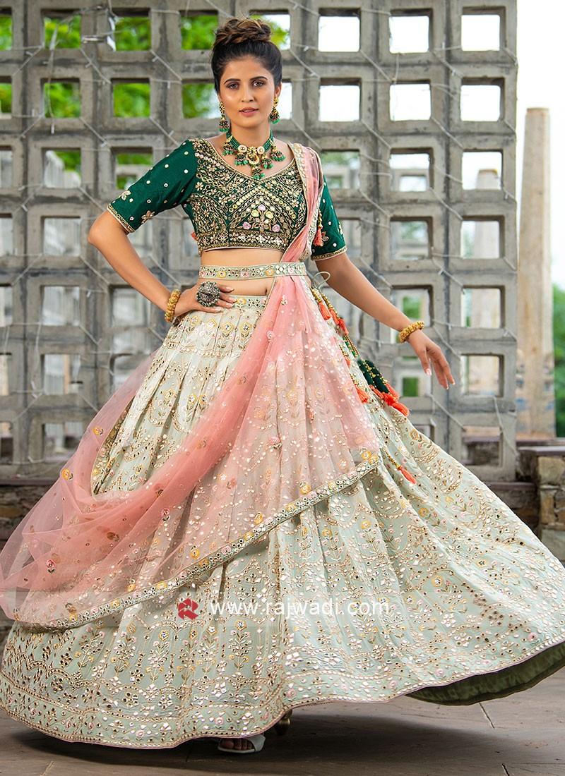 Wedding Wear Embroidery Choli Suit