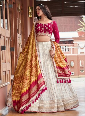 Wedding Wear Choli Suit In Off White And Pink Color