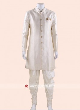 Wedding Wear Cream Indo Western For Mens