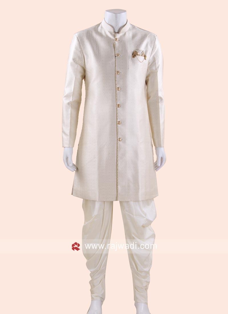 Wedding Wear Cream Indo Western For Mens