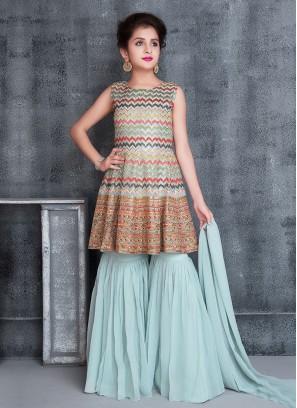 Wedding Wear Gharara Suit In Blue