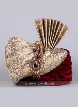 Wedding Wear Golden and Maroon Color Safa