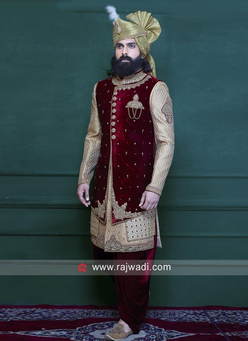 Wedding Wear Maroon and Golden Indo Western