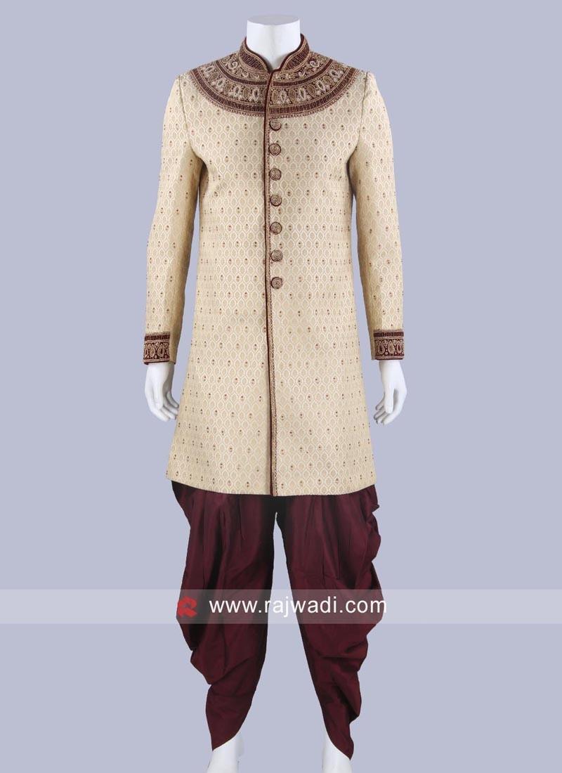 Wedding Wear Golden Sherwani For Mens