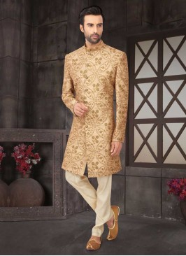 Wedding Wear Indo-Western In Golden Color