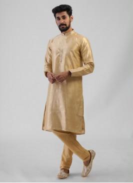 Wedding Wear Kurta Pajama In Golden Cream