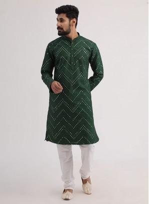 Wedding Wear Kurta Pajama In Green Color