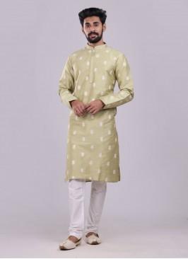 Wedding Wear Kurta Pajama In Pista Green Color