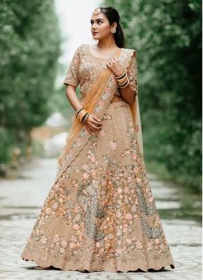 Wedding Wear Lehenga Choli In Dark Beige Color