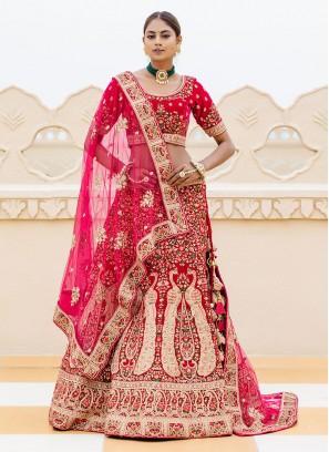 Wedding Wear Lehenga Choli In Rani Color
