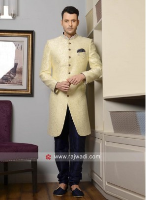 Wedding Wear Light Yellow Indo Western For Mens