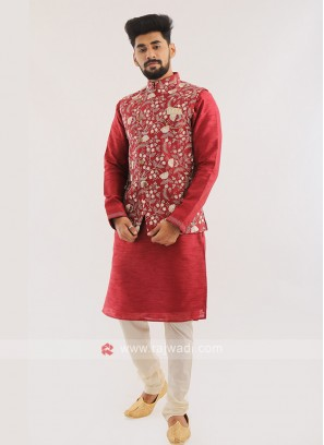 Wedding Wear Nehru Jacket Set For Men