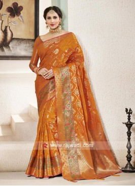 Wedding Wear Orange Saree