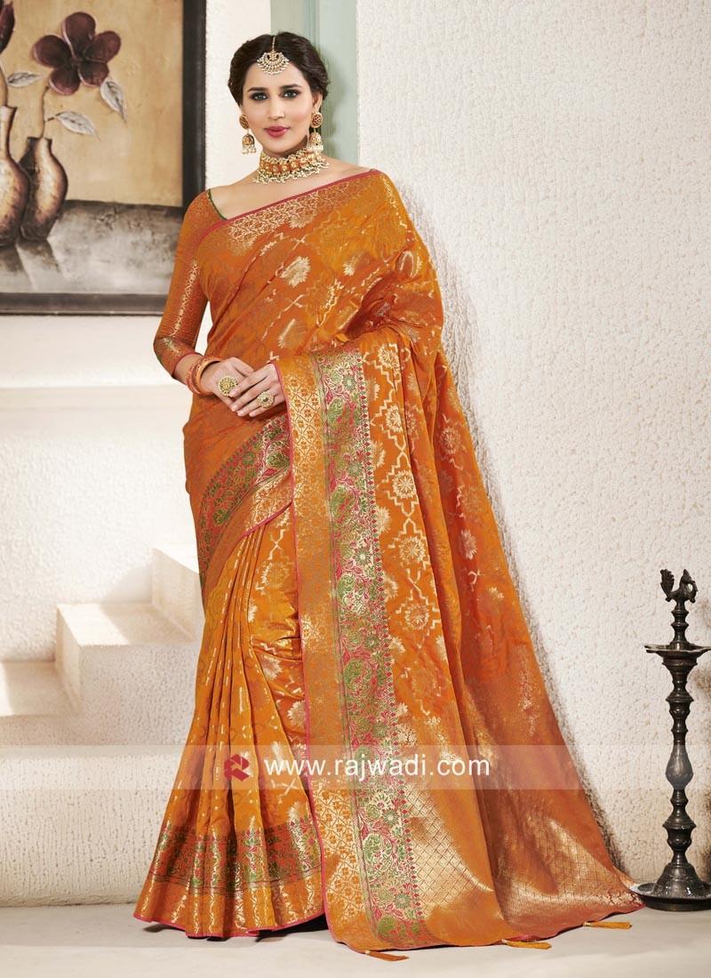 Wedding Wear Orange Saree