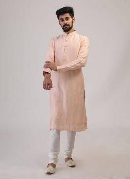Wedding Wear Peach Color Kurta Pajama