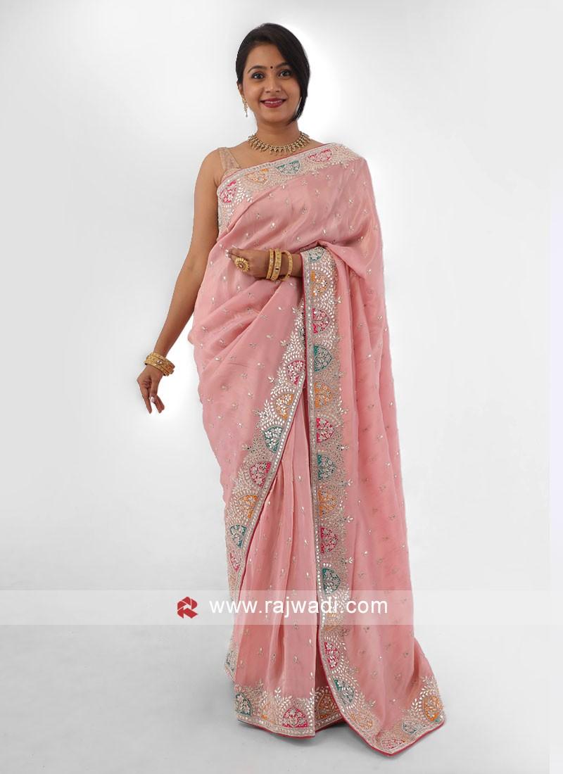 Wedding Wear Peach Color Saree