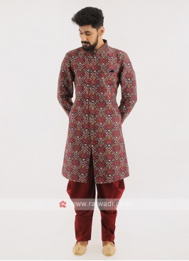 Wedding Wear Printed Indo western For Men