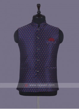 Wedding Wear Printed Nehru Jacket